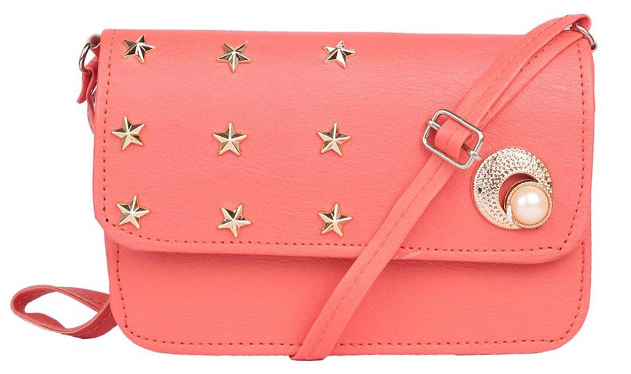 Aliado | Envie Faux Leather Peach Embellished Magnetic Snap Sling Bag