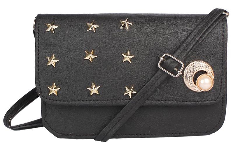 Aliado   Envie Faux Leather Black Embellished Magnetic Snap Crossbody Bag