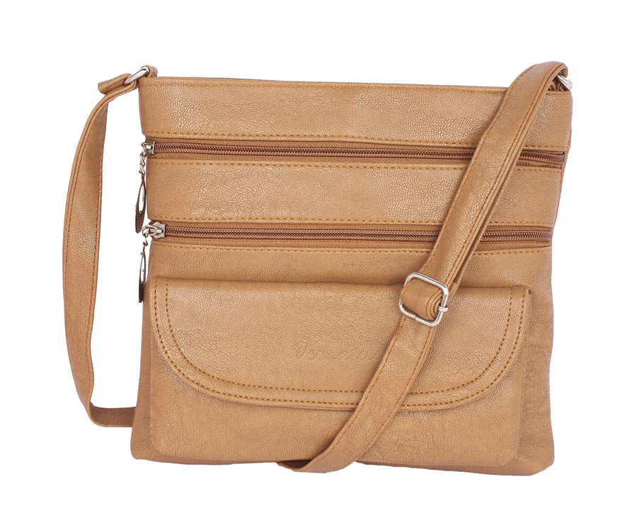 Aliado | Aliado Faux Leather Beige Coloured Zipper Closure Sling Bag