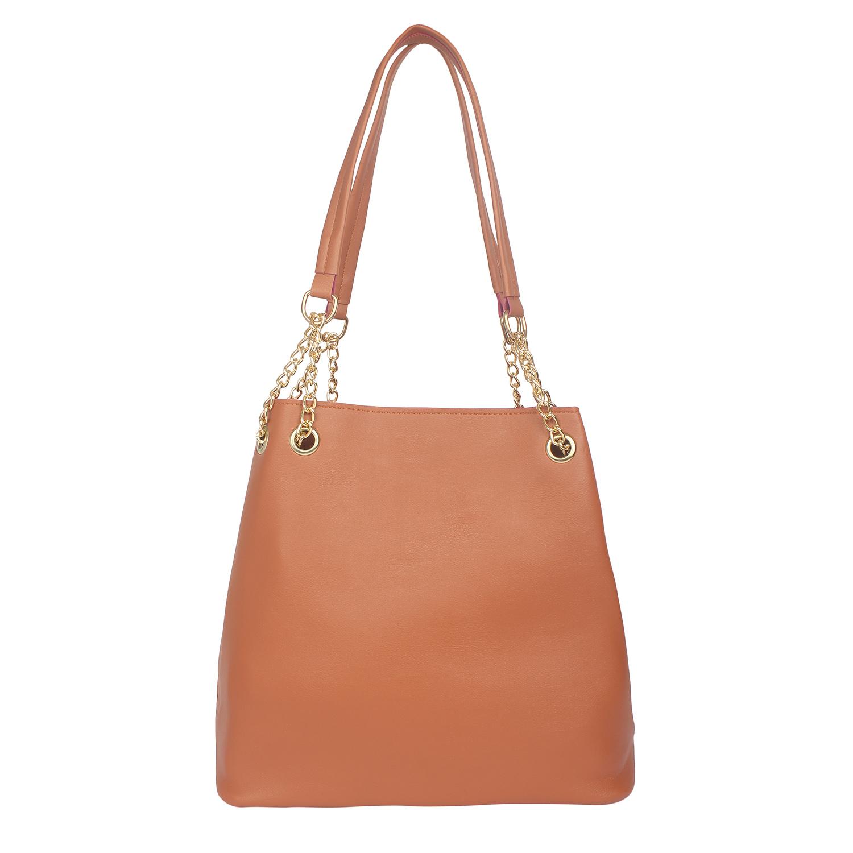 Aliado | Aliado Brown Artificial Leather Tuck Lock Closure Handbag