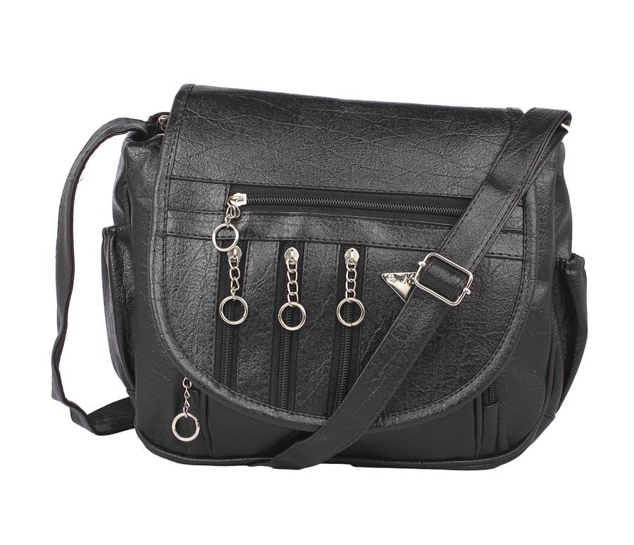 Aliado   Aliado Cotton Black Solid Zipper Closure Sling Bag