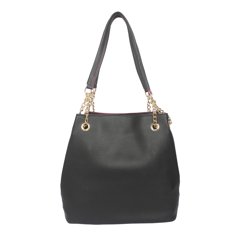 Aliado | Aliado Black Artificial Leather Tuck Lock Closure Handbag