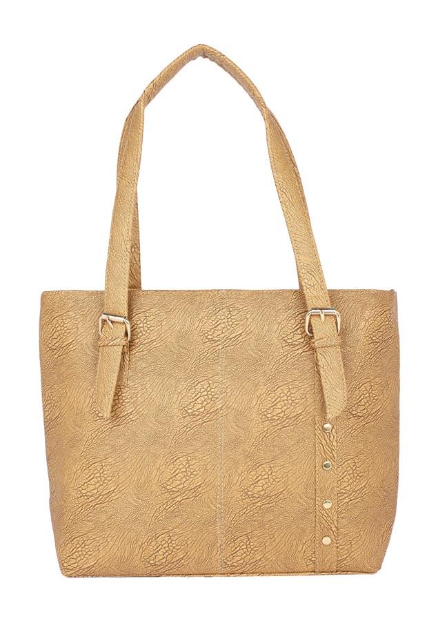 Aliado | Aliado Faux Leather Beige Coloured Zipper Closure Tote Bag