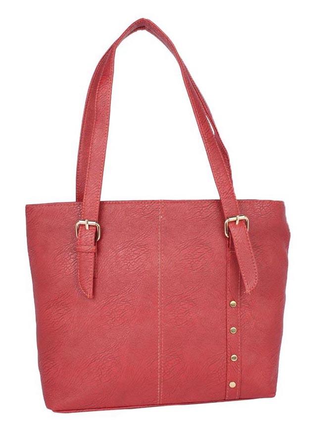 Aliado   Aliado Faux Leather Magenta Coloured Zipper Closure Tote Bag