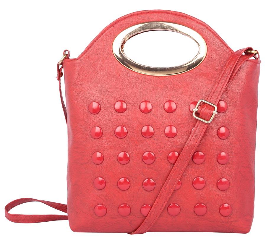 Aliado | Envie Faux Leather Embellished Red Zipper Closure Crossbody Bag