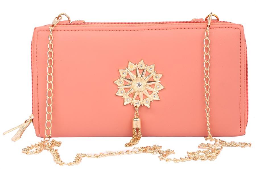 Aliado | Envie Faux Leather Embellished Peach Zipper Closure Crossbody Bag