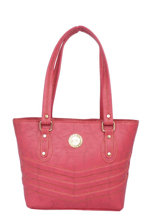 Aliado | Aliado Faux Leather Pink Coloured Zipper Closure Handbag