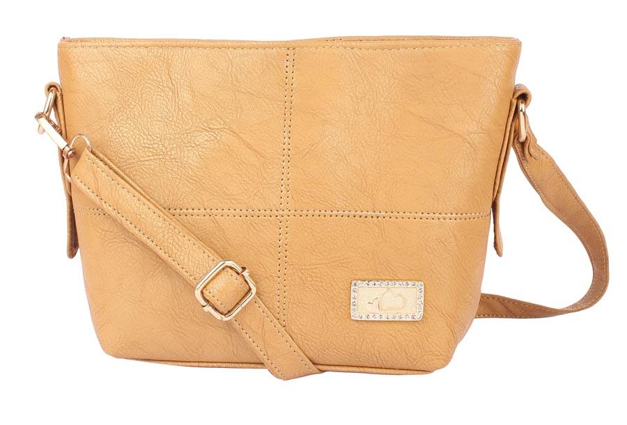 Aliado   Aliado Faux Leather Mustard Zipper Closure Handbag