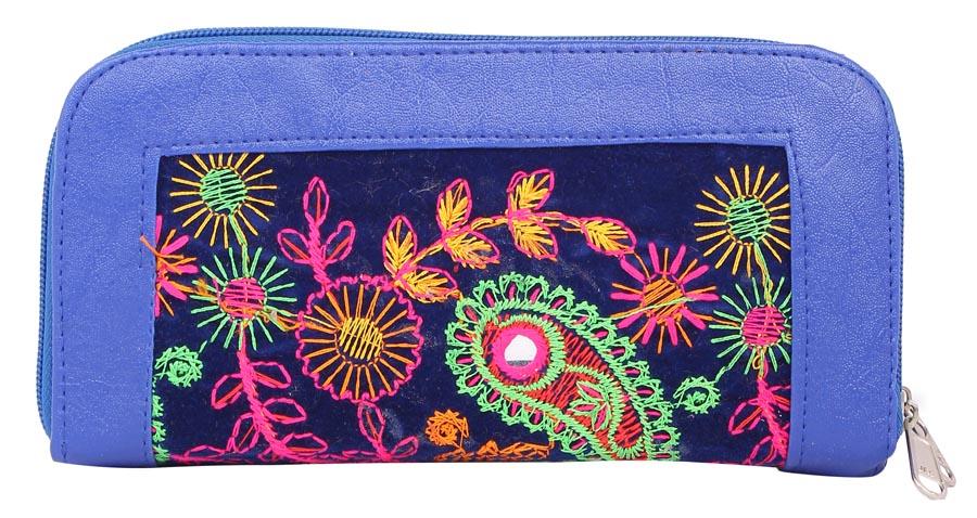 Aliado | Envie Faux Leather Embroidered Blue & Multi Zipper Closure Minaudiere Style Clutch