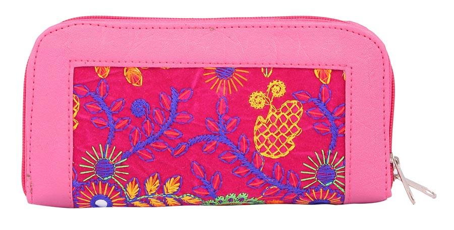 Aliado | Envie Faux Leather Embroidered Pink & Multi Zipper Closure Clutch