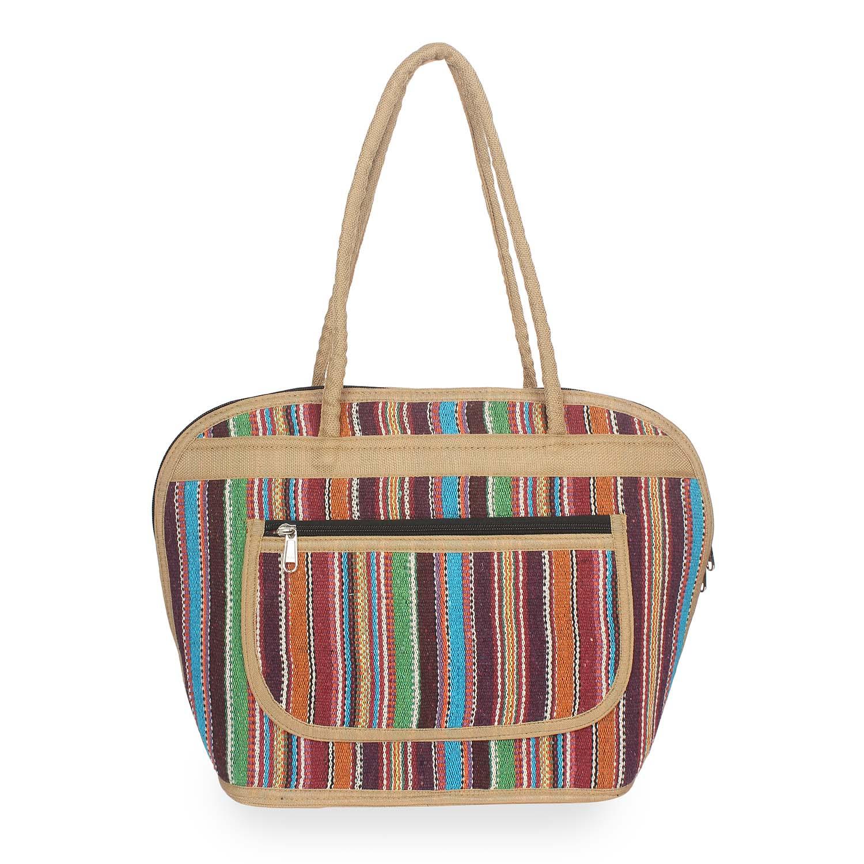 Aliado | Aliado Textile/Fabric Multi color Zipper Closure Handcrafted Handbag