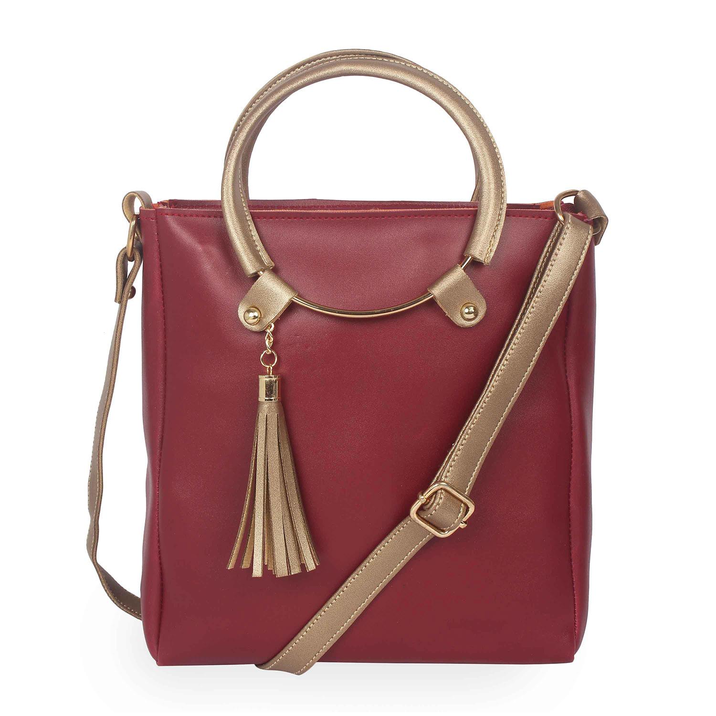 Aliado | Aliado Polyester Maroon & Gold Zipper Closure  Sling Bags