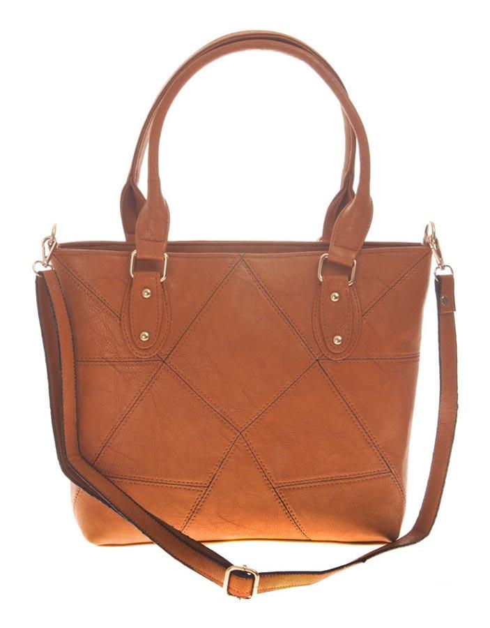 Aliado   Aliado Faux Leather Solid Brown Zipper Closure Handbag