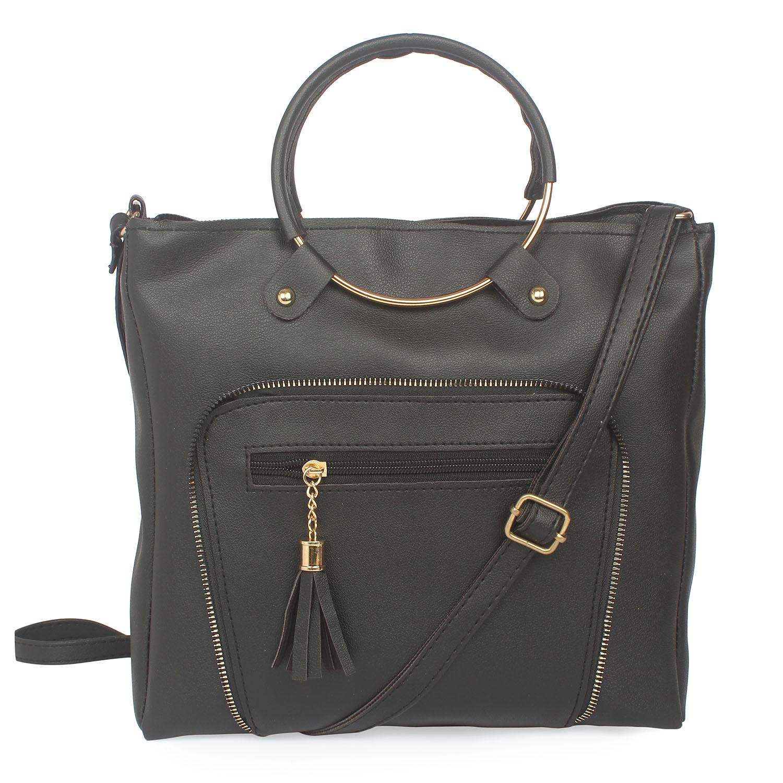 Aliado | Aliado Black Artificial Leather Zipper Closure Handbag