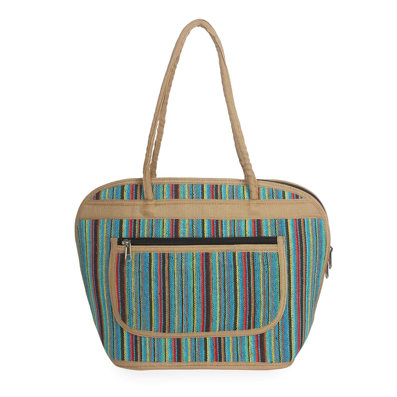 Aliado | Aliado Textile Multi Color Zipper Closure Handcrafted Handbag