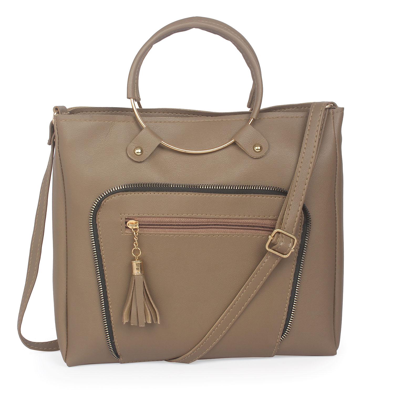 Aliado | Aliado Bronze Artificial Leather Zipper Closure Handbag