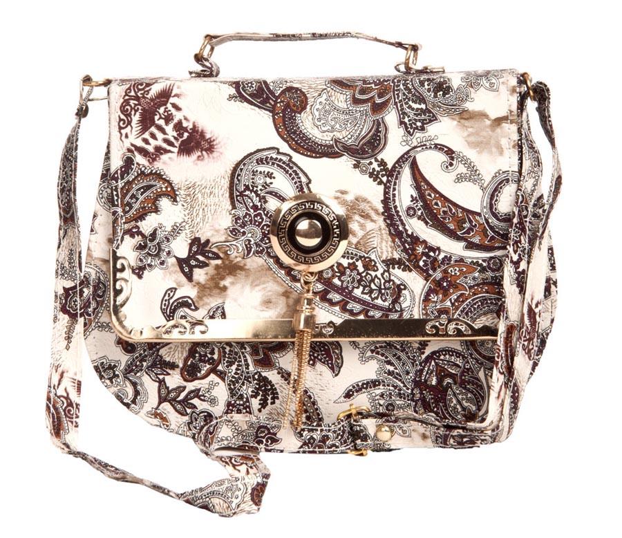 Aliado   Aliado Faux Leather Printed White & Black Magnetic Snap Crossbody Bag