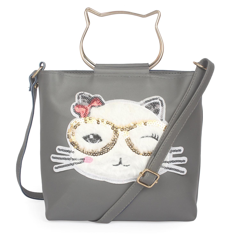 Aliado | Aliado Gray Artificial Leather Zipper Closure Handbag