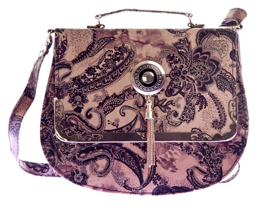 Aliado | Aliado Faux Leather Brown Embellished Magnetic Snap Sling Bag