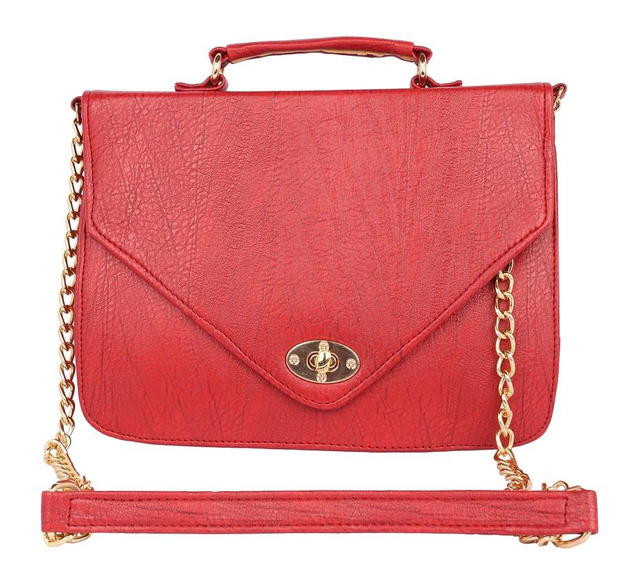 Aliado   Aliado Faux Leather           Embellished Red Twist Lock Closure Crossbody Bag