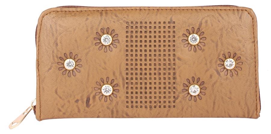 Aliado | Aliado          Faux Leather Embellished Brown Zipper Closure Clutch
