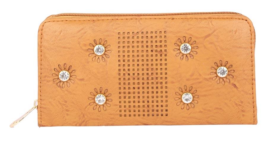 Aliado | Aliado Faux Leather Mustard Embellished         Zipper Clutch