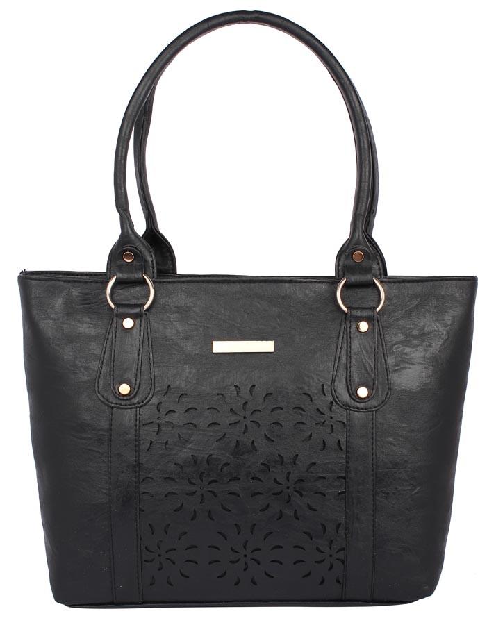 Aliado | Aliado             Faux Leather Black  Coloured Zipper Closure Handbag