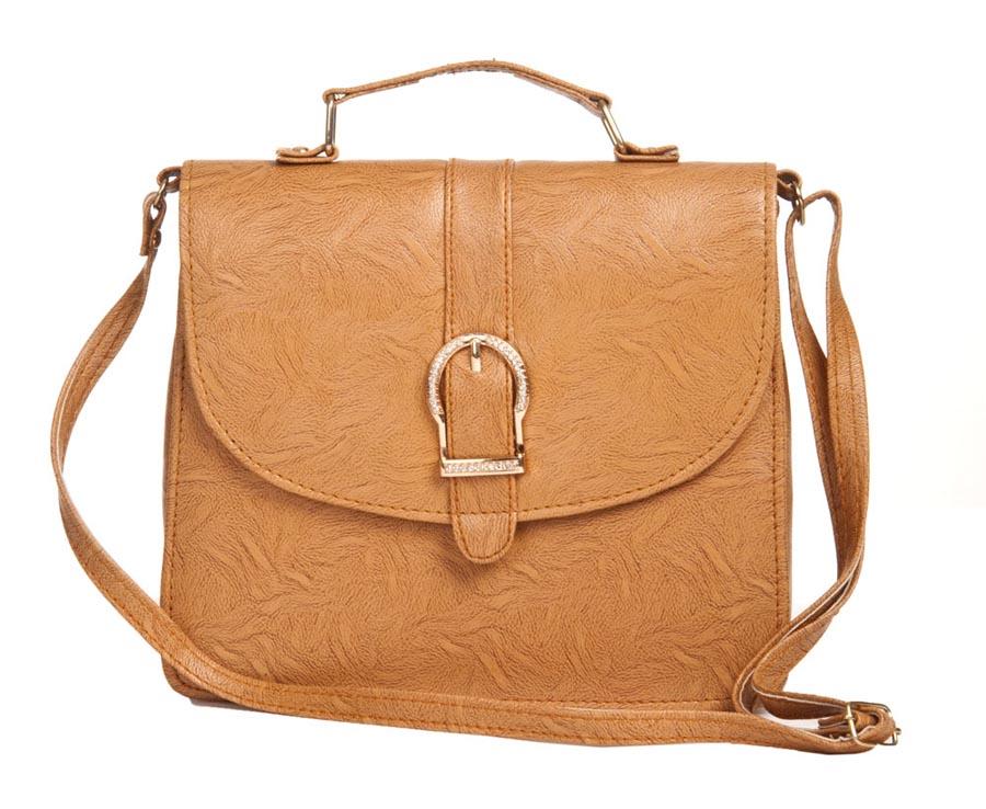 Aliado | Aliado Faux Leather Solid Brown Magnetic Snap Sling Bag