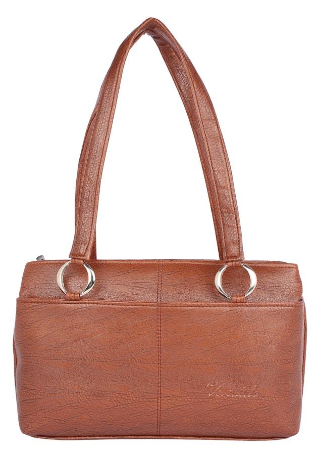 Aliado   Aliado Faux Leather Coffee          Brown Coloured Zipper Closure Handbag