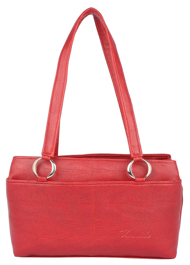 Aliado   Aliado Faux Leather Red Coloured              Zipper Closure Handbag