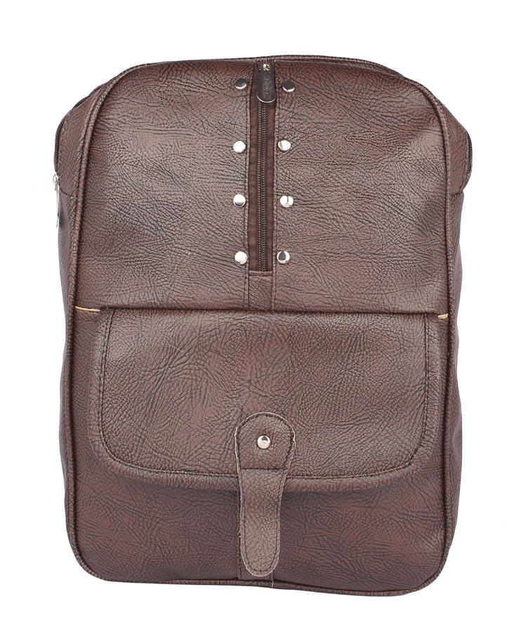 Aliado | Aliado Faux Leather Coffee Brown   Coloured Zipper Closure Backpack