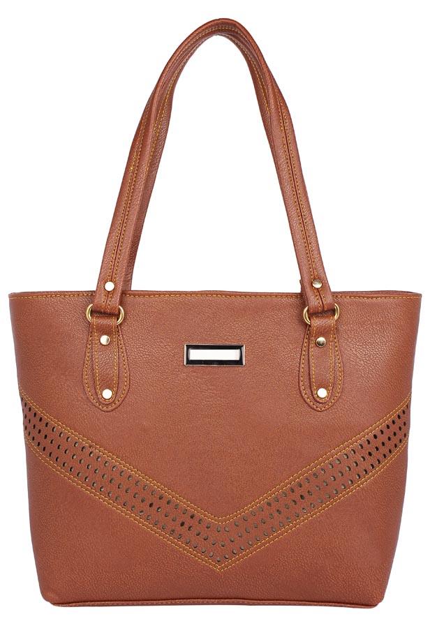Aliado | Aliado              Faux Leather Cofee Brown  Coloured Zipper Closure Handbag
