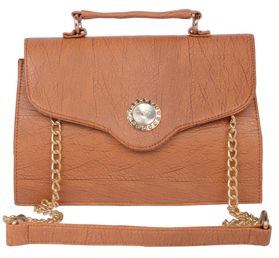 Aliado | Aliado Faux Leather  Brown Magnetic Snap Closure Sling Bag