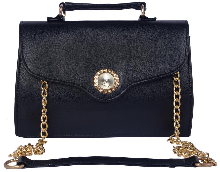 Aliado | Aliado Faux Leather Black Magnetic Snap Closure Sling Bag