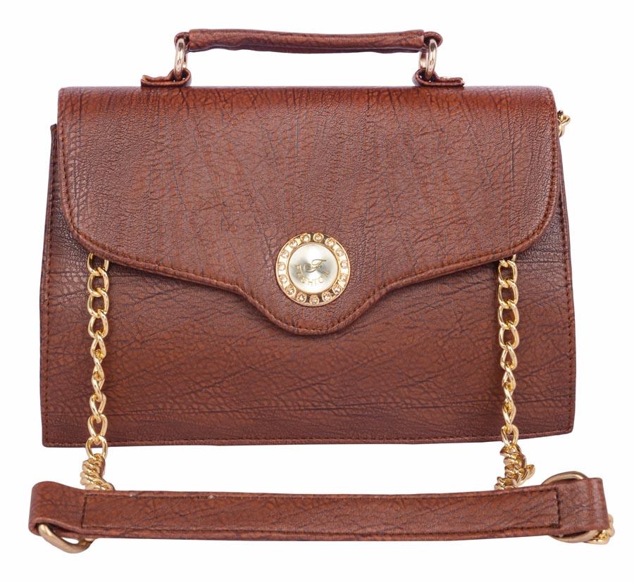 Aliado   Aliado Faux Leather Coffee Brown Magnetic Snap Closure Sling Bag