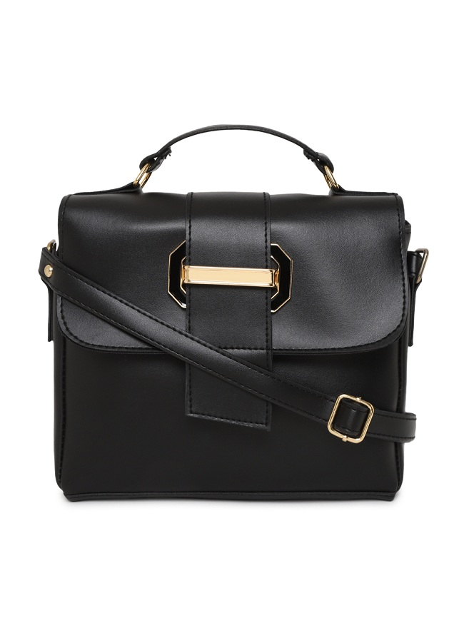 Aliado | Aliado Faux Leather Black Tuck Lock Closure Sling Bag
