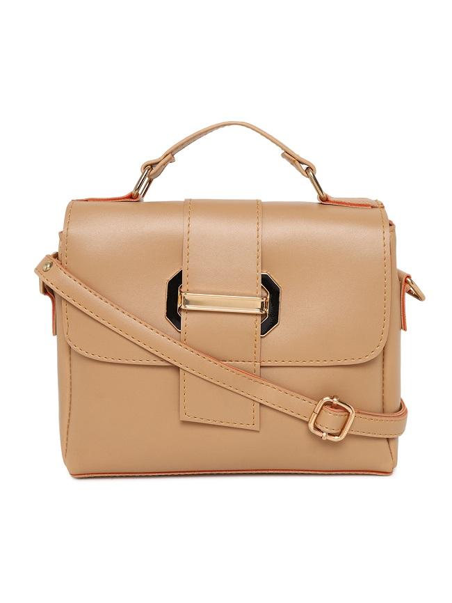 Aliado | Aliado Faux Leather Beige Tuck Lock Closure Sling Bag