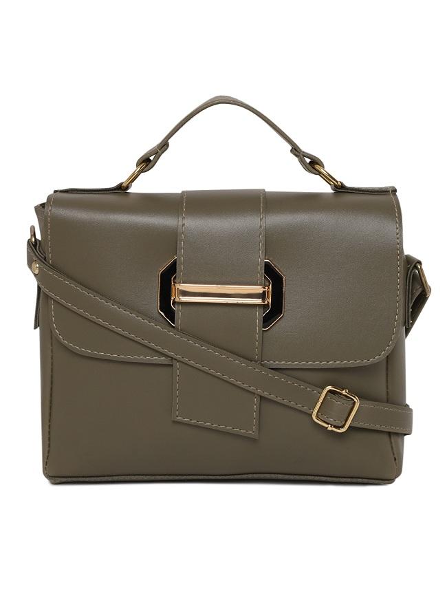 Aliado | Aliado Faux Leather Olive Tuck Lock Closure Sling Bag