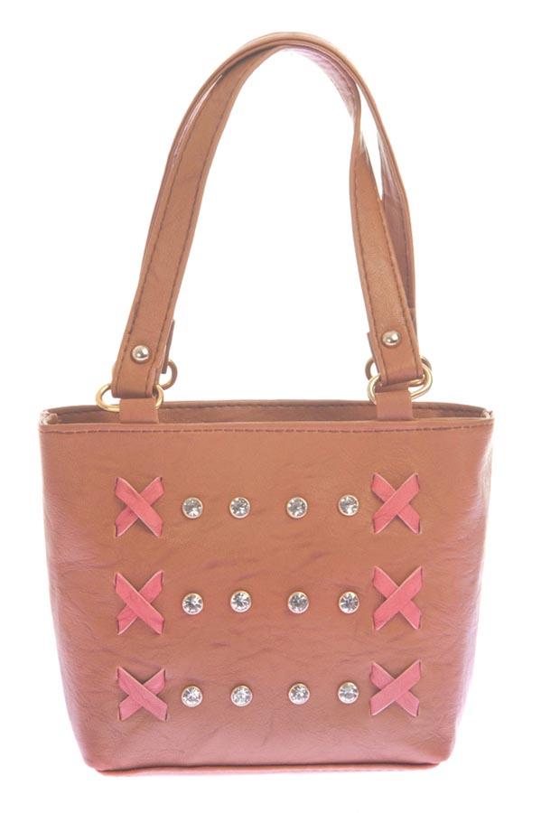 Aliado   Aliado Faux Leather Brown Coloured Zipper Closure Embellished Tote Bag
