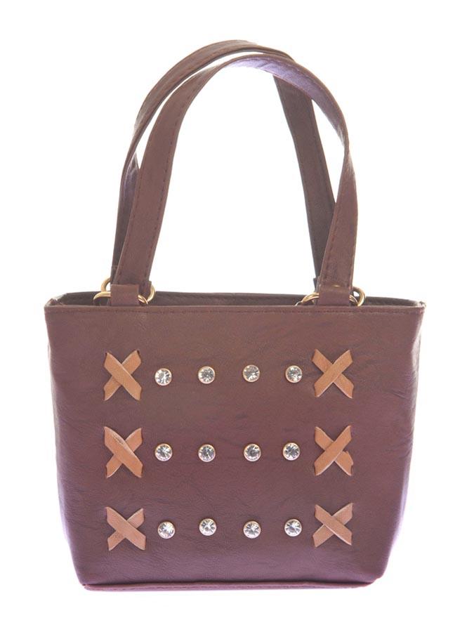 Aliado   Aliado Faux Leather Coffee Brown Embellished Zipper Tote Bag