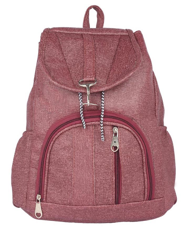 Aliado | Aliado Faux Leather Magenta Colured Backpack