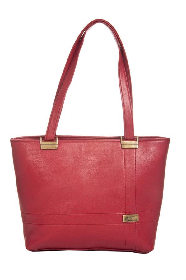 Aliado | Aliado Faux Leather Solid Pink Zipper Closure Tote Bag