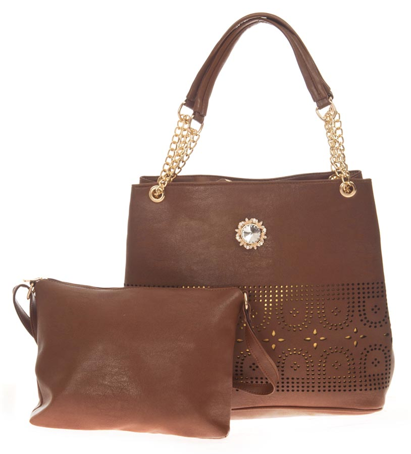 Aliado   Aliado Faux Leather Solid Coffee Brown Zipper Closure Tote Bag