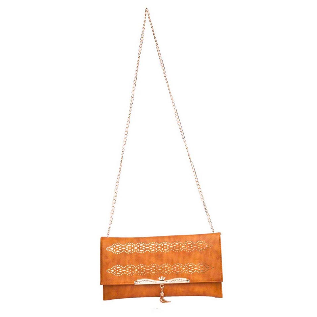 Aliado | Aliado Faux Leather Solid Mustard Fold Over Magnetic Snap Sling Bag for Women