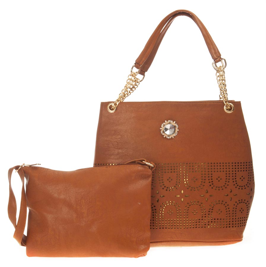 Aliado   Aliado Faux Leather Solid Brown Zipper Closure Tote Bag