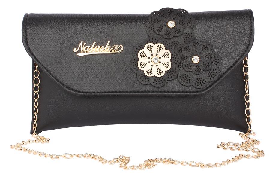 Aliado   Aliado Faux Leather Embellished Black Magnetic Snap  Closure Crossbody Bag