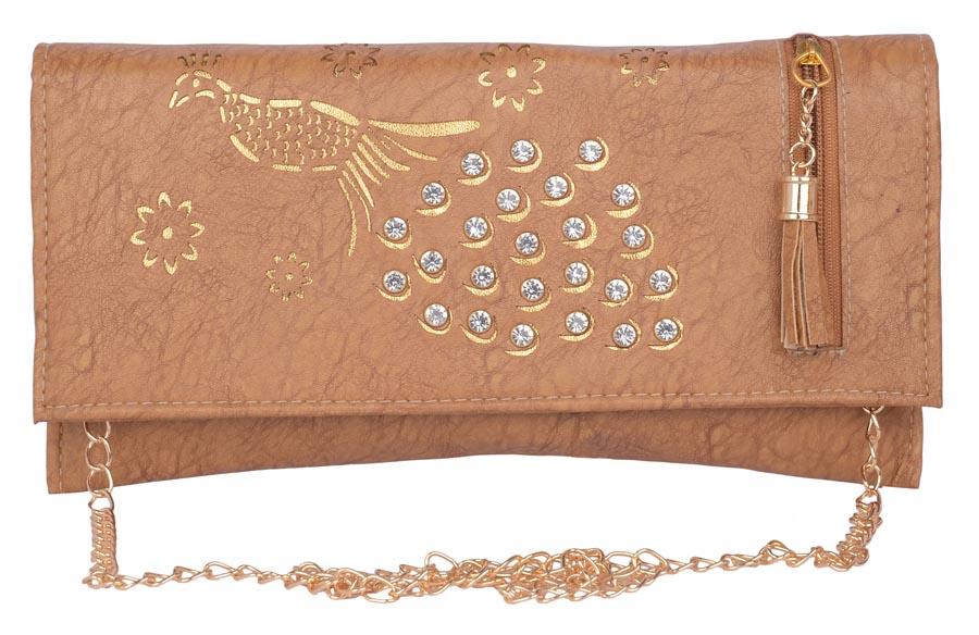 Aliado | Aliado Faux Leather Brown Coloured Magnetic Snap Sling Bag
