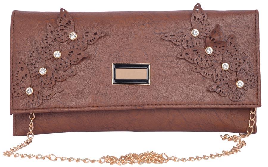 Aliado | Aliado Faux Leather Embellished  Coffee Brown Magnetic Snap Closure Crossbody Bag