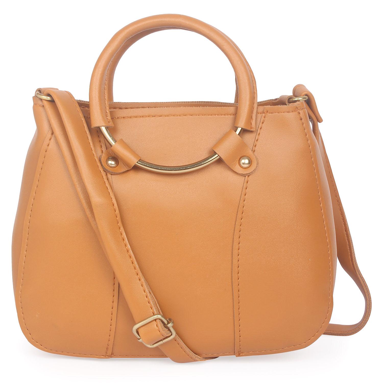 Aliado | Aliado Brown Artificial Leather Zipper Closure Handbag