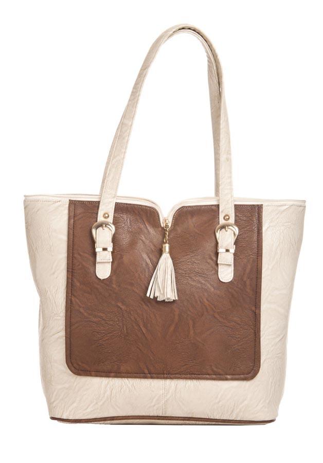 Aliado   Aliado Faux Leather Solid Cream & Brown Zipper Closure Tote Bag